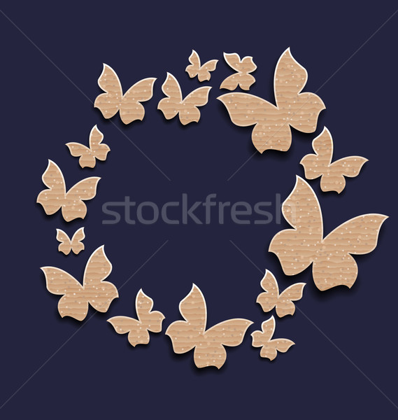 circle frame with butterflies made in carton paper Stock photo © smeagorl