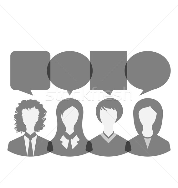 Icons of business women with dialog speech bubbles, copy space f Stock photo © smeagorl