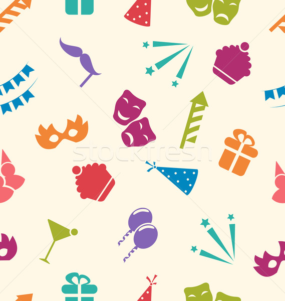Seamless Pattern of Party Objects, Wallpaper for Holidays Stock photo © smeagorl