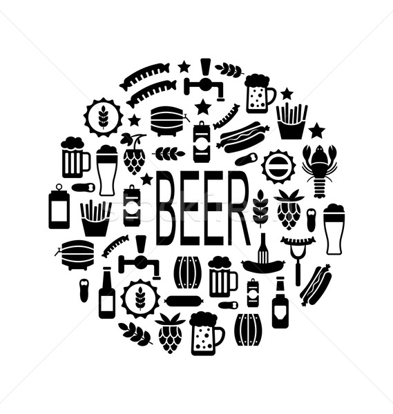 Black Icons of Beer and Snacks Stock photo © smeagorl