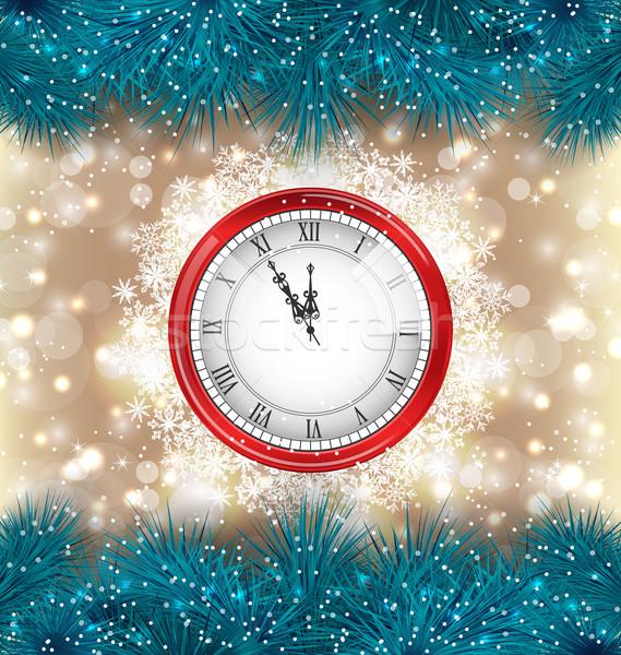 Новый год полночь часы ель иллюстрация дерево Сток-фото © smeagorl