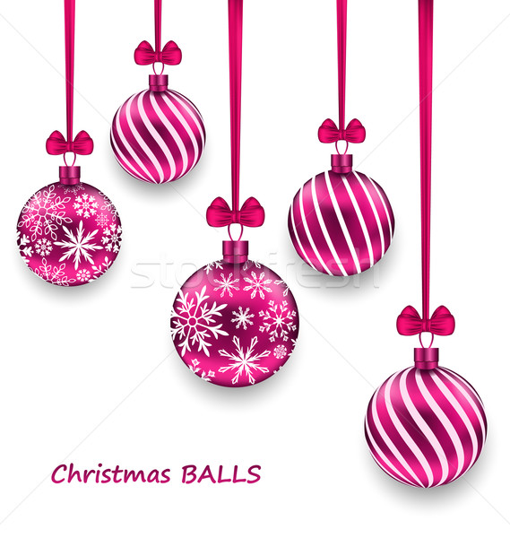 Christmas Card with Pink Glassy Balls with Bow Ribbon Stock photo © smeagorl