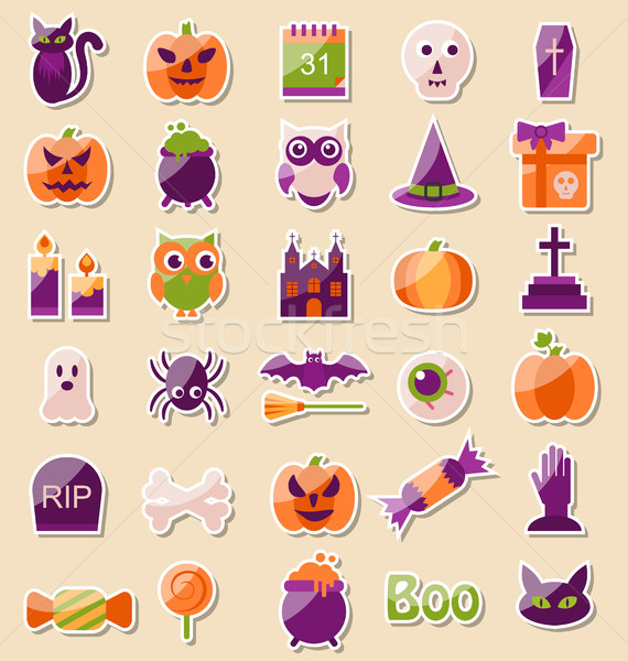 Set of Halloween Flat Icons, Scrapbook Elements Stock photo © smeagorl