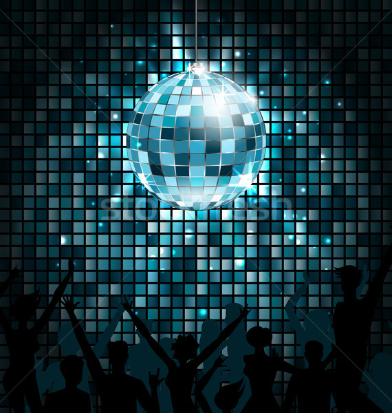 Disco Ball with Silhouettes of People Dance. Party Glowing Lights Background Stock photo © smeagorl