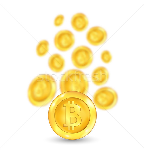 Bitcoin. Bit coin. Digital Currency. Cryptocurrency. Golden Icon Blurred Stock photo © smeagorl