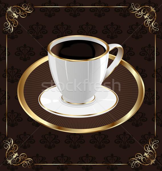 Stock fotó: Aranyos · díszes · klasszikus · csomagolás · kávé · kávéscsésze