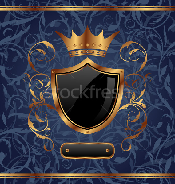 Golden vintage with heraldic elements (crown, shield), seamless  Stock photo © smeagorl