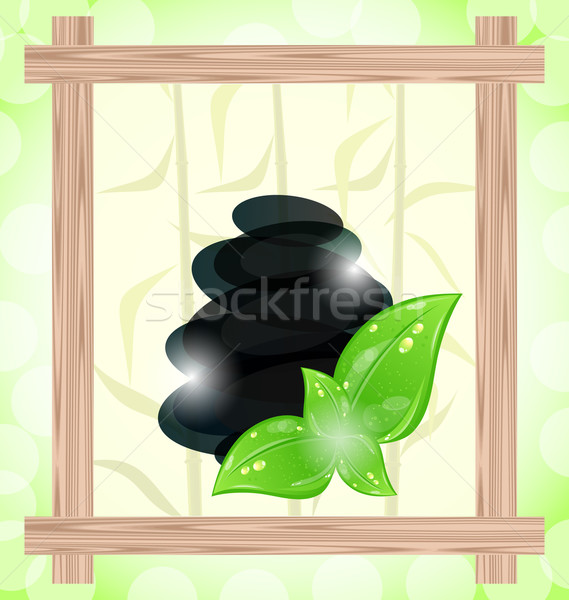 Illustration meditative bamboo background with cairn stones and  Stock photo © smeagorl