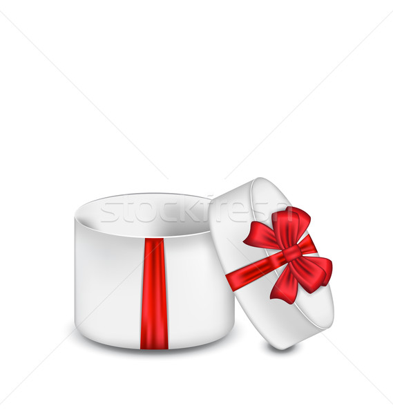 Open gift box with red bow isolated on white background Stock photo © smeagorl