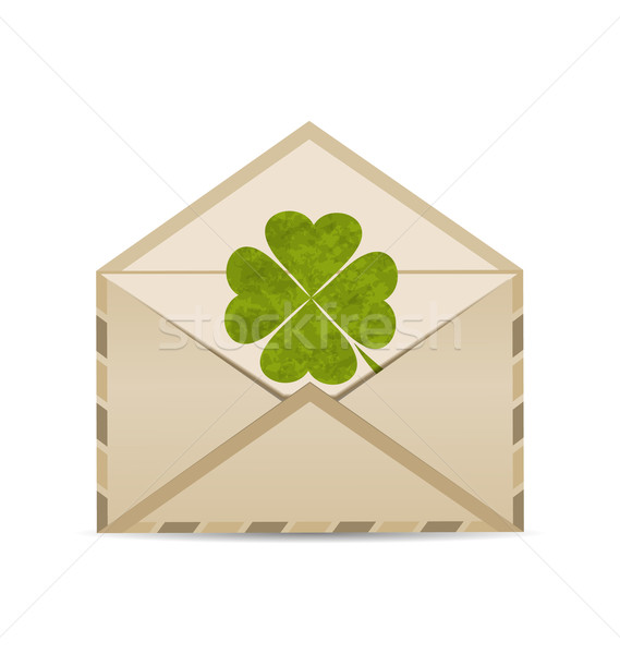 Old envelope with clover isolated on white background for St. Pa Stock photo © smeagorl