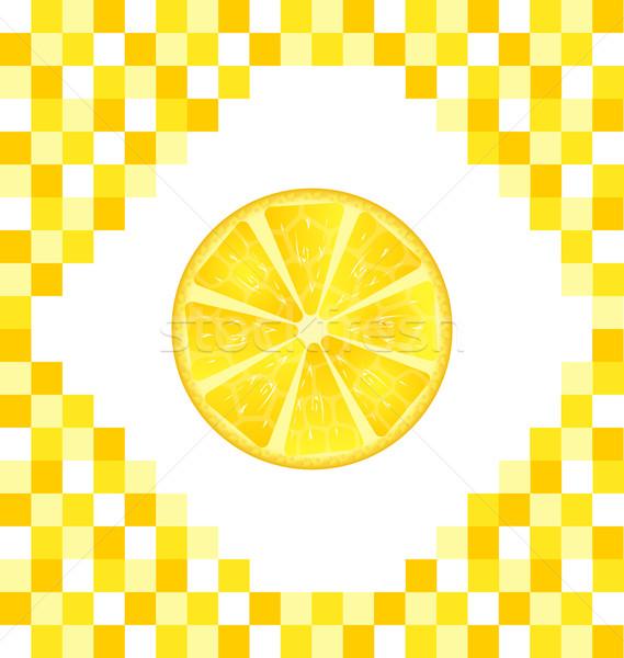 Sliced Lemon on Yellow Tiled Background Stock photo © smeagorl