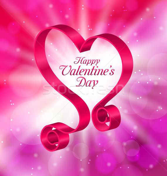 Rózsaszín szalag űrlap szív boldog valentin nap illusztráció Stock fotó © smeagorl