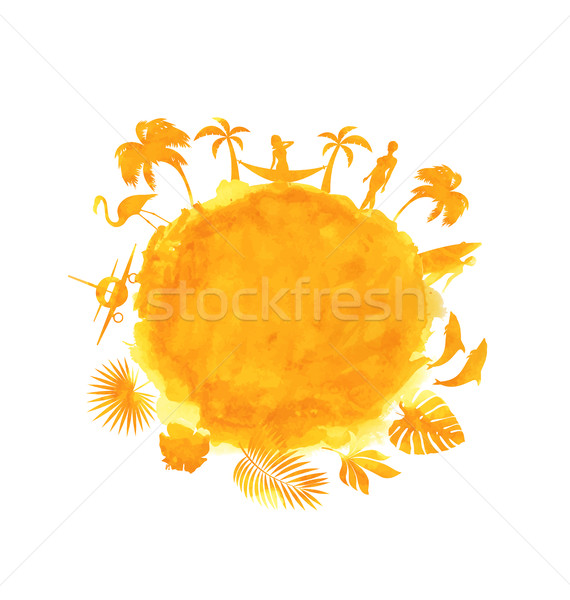 Tropical Summer Party Banner. Orange Watercolor Stock photo © smeagorl
