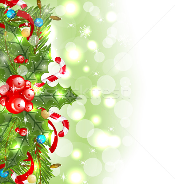 Christmas glowing background with holiday decoration Stock photo © smeagorl