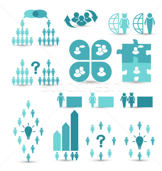 Set business icons, management and human resources Stock photo © smeagorl