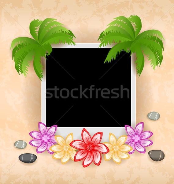Palm fleurs mer cailloux fleur Photo stock © smeagorl