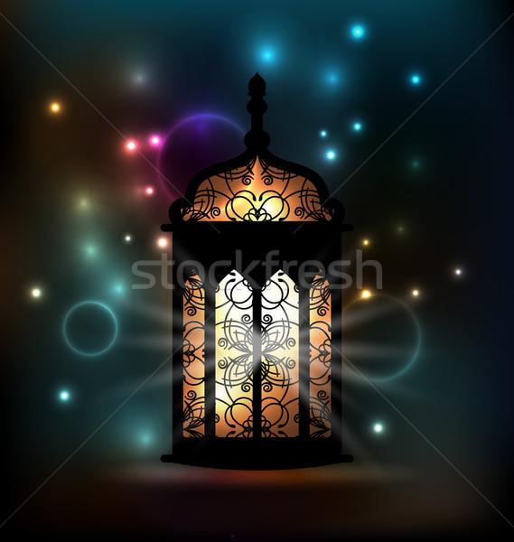 Arabic lantern with ornamental Pattern for Ramadan Kareem Stock photo © smeagorl