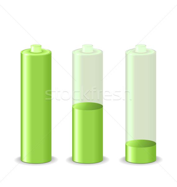 Establecer batería estado aislado blanco ilustración Foto stock © smeagorl