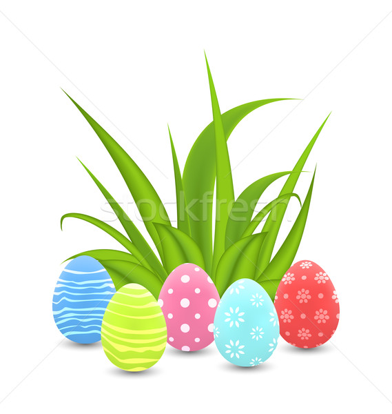 Traditional colorful ornamental eggs with grass for  Easter Stock photo © smeagorl