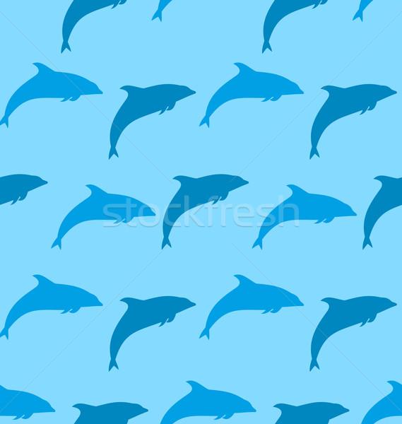Seamless Pattern with Dolphin, Marine Mammal Animal Stock photo © smeagorl