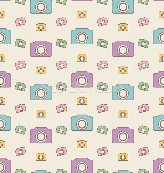 Seamless Hipster Background with Cameras, Vintage Pattern Stock photo © smeagorl