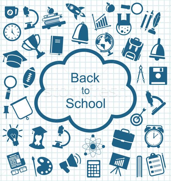 Gyűjtemény oktatás egyszerű ikonok illusztráció iskola Stock fotó © smeagorl
