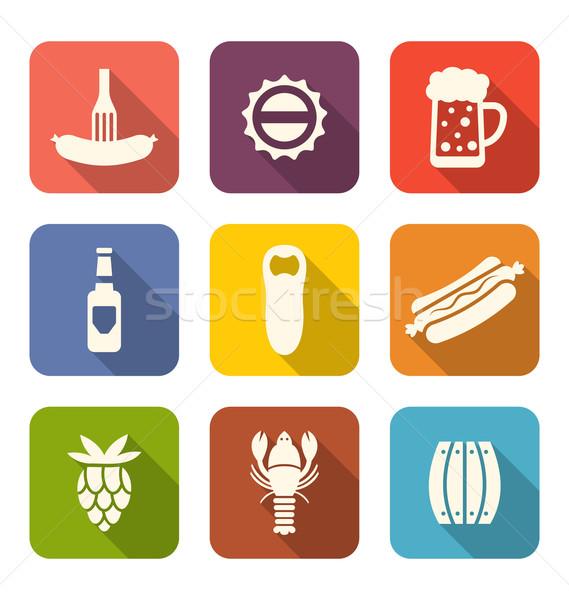 группа минимальный красочный иконки иллюстрация Сток-фото © smeagorl
