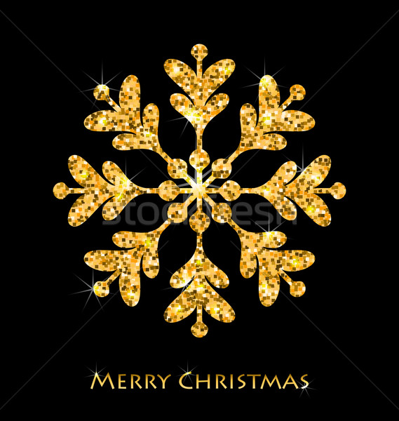 Golden Merry Christmas Sparkle Snowflakes Stock photo © smeagorl