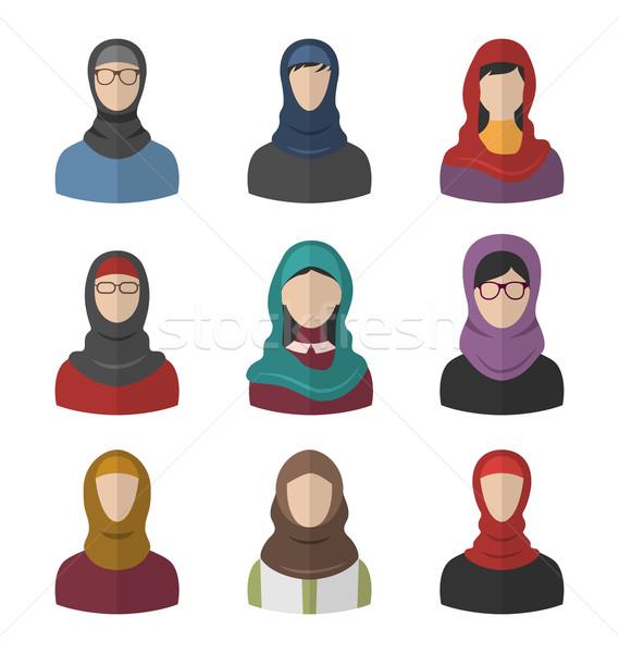 набор арабский женщины головной платок иллюстрация портретов Сток-фото © smeagorl