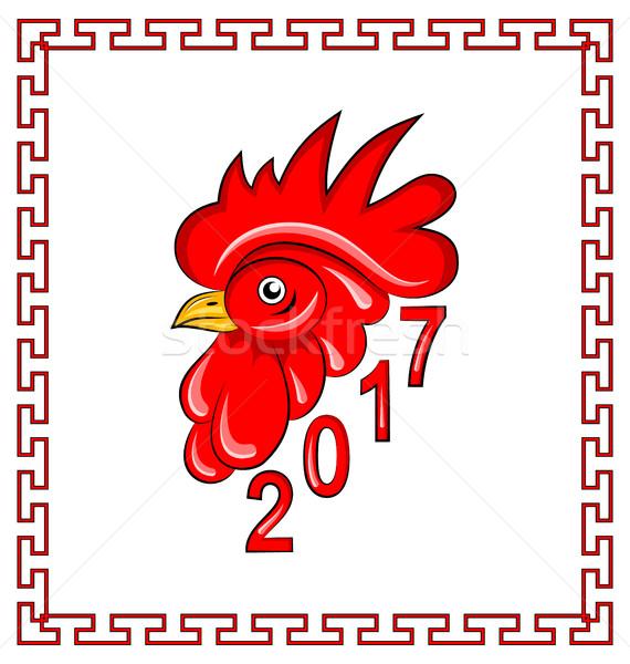 Rosso gallo simbolo cinese calendario illustrazione Foto d'archivio © smeagorl