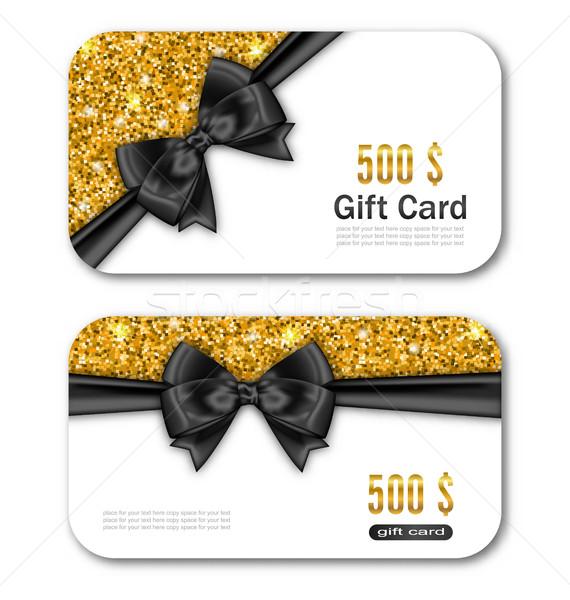 Cartão de presente modelo dourado poeira textura preto Foto stock © smeagorl