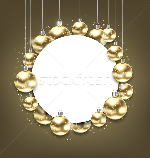 Christmas Golden Glowing Balls with Clean Card Stock photo © smeagorl