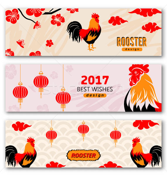 Collection Banners with Chinese New Year Roosters Stock photo © smeagorl