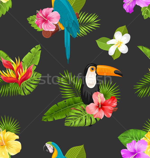 Stock photo: Seamless Pattern with Exotic Flowers and Birds. Jungle Texture