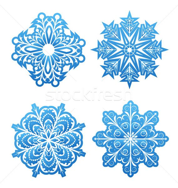 Conjunto variação flocos de neve isolado ilustração abstrato Foto stock © smeagorl