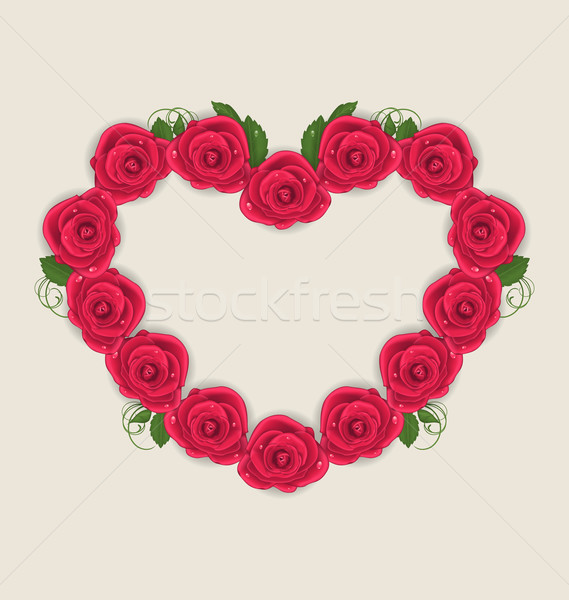 Floral postcard with heart made in roses for Valentine Day, copy Stock photo © smeagorl