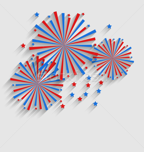 Firework Colorized in Flag US for Celebration Events, Flat Styl Stock photo © smeagorl