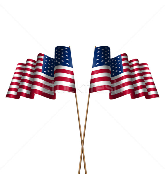 Two Flags USA Waving Wind Stock photo © smeagorl