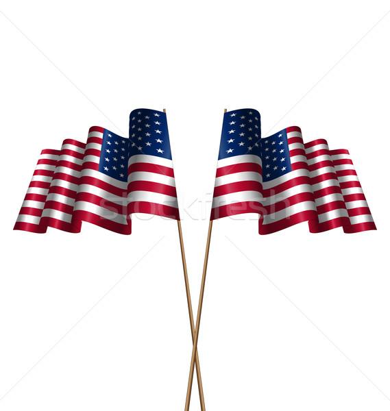 Two Flags USA Waving Wind Stock photo © smeagorl