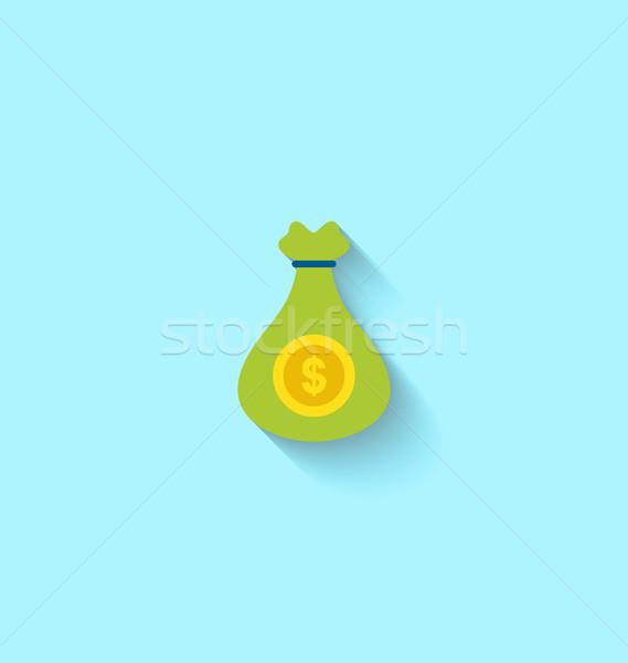 Flat Icon of Canvas Bag Money Stock photo © smeagorl