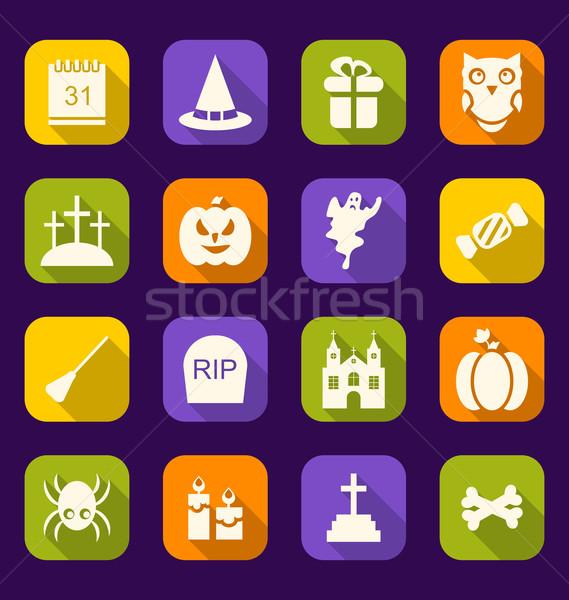 Halloween Flat Icons with Long Shadows Stock photo © smeagorl