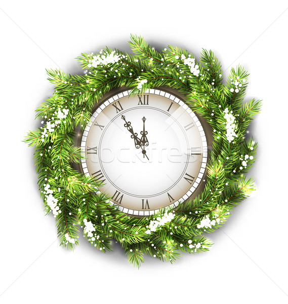 Stock photo: Christmas Wreath with Clock