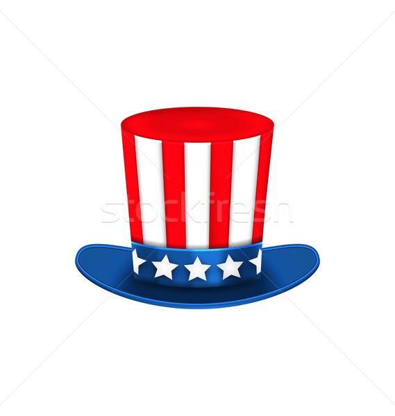 Nagybácsi kalap amerikai ünnepek izolált fehér Stock fotó © smeagorl