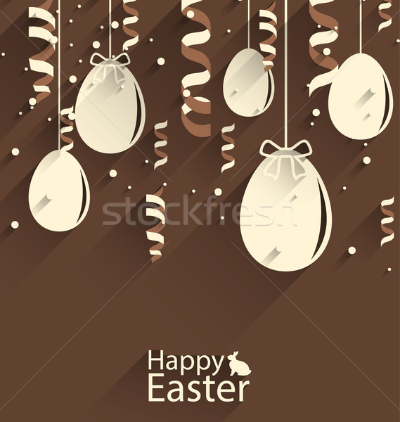 Happy Easter Chocolate Background with Eggs and Serpentine Stock photo © smeagorl