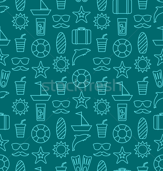 Seamless Texture with Hand Drawn Vocation Objects and Icons Stock photo © smeagorl