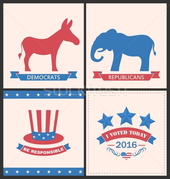 Retro kaarten adverteren Verenigde Staten politiek partijen Stockfoto © smeagorl