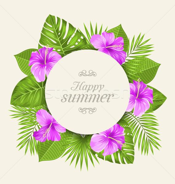 ヴィンテージ カード 紫色 ハイビスカス 花 緑 ストックフォト © smeagorl