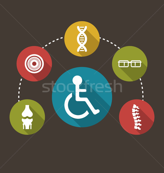 Flat Colorful Icons Disabled with Limited Opportunities and Birth Defects Stock photo © smeagorl
