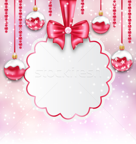 Christmas Silver Glassy Balls with Clean Card with Bow Ribbon Stock photo © smeagorl