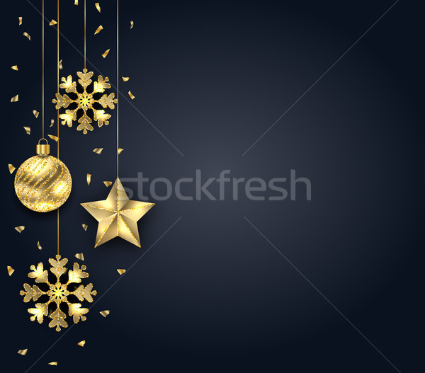 Christmas Dark Background with Golden Baubles, Greeting Banner Stock photo © smeagorl